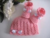"""Set coordinato neonata rosa """"Hello Kitty"""" cappellino scarpine fatto a mano handmade idea regalo corredino nascita battesimo lana mohair uncinetto"""