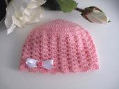 """Cappellino neonata rosa """"Hello Kitty"""" fatto a mano handmade idea regalo corredino nascita battesimo lana mohair uncinetto"""
