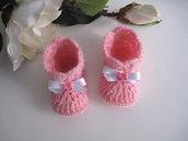 """Scarpine stivaletti neonata rosa """"Hello Kitty"""" fatte a mano handmade idea regalo corredino nascita battesimo lana mohair uncinetto"""