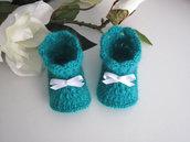 Scarpine neonato neonata unisex verde smeraldo fatte a mano handmade idea regalo corredino nascita battesimo uncinetto