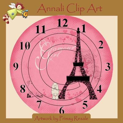 """""""Orologio Parigi Glamour"""" - Clip Art da stampare quante volte vuoi per Decoupage e altro - Immagini"""