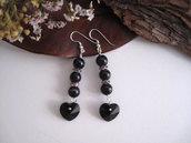 """Orecchini """"Crystal Black Heart"""" fatti a mano monachella argento 925 sfere agata nera pendente cuore cristallo Swarovski handmade"""