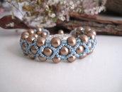 """Bracciale """"Intreccio"""" Bronzo/Azzurro in tessitura di perline con perle di vetro fatto a mano idea regalo handmade"""