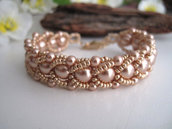 """Bracciale """"Crystal Rose Gold"""" in tessitura di perline con perle Swarovski fatto a mano idea regalo handmade"""