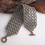 """Bracciale """"Antares"""" Bronzo/Turchese fatto a mano tessitura perline idea regalo handmade"""