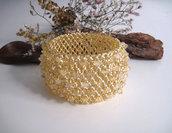 """Bracciale """"Capriccio"""" a fascia larga in tessitura perline e quarzo citrino fatto a mano idea regalo"""
