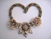 """Collier girocollo """"Flora"""" in tessitura di perline con ambra naturale gioielli fatto a mano idea regalo handmade"""