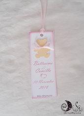 etichette segnaposto segnalibro battesimo orsetto con fiocco rosa per battesimo bimba