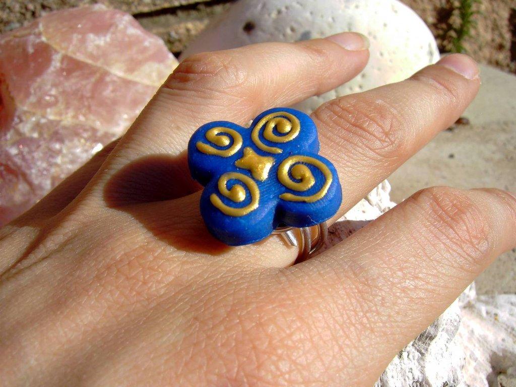 Anello in Cernit Fiore Blu