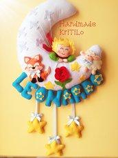Fiocco nascita Pannolenci Il piccolo principe su luna con volpe, stelle e pecora Handmade KriTiLo