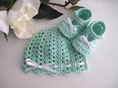 Set coordinato neonato unisex cotone acquamarina fatto a mano idea regalo corredino nascita battesimo cerimonia uncinetto