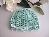 Cappellino neonato unisex cotone acquamarina fatto a mano idea regalo corredino nascita battesimo cerimonia uncinetto