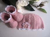 Set coordinato cotone rosa cappellino + scarpine stivaletti fatto a mano idea regalo nascita battesimo cerimonia uncinetto