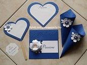 Kit Matrimonio in Blu ( Segnaposto, segnagusto, segnatavolo, cartoncini tableaux, coni riso, tags.)