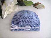 Cappellino azzurro neonato fatto a mano idea regalo corredino nascita battesimo cerimonia lana uncinetto