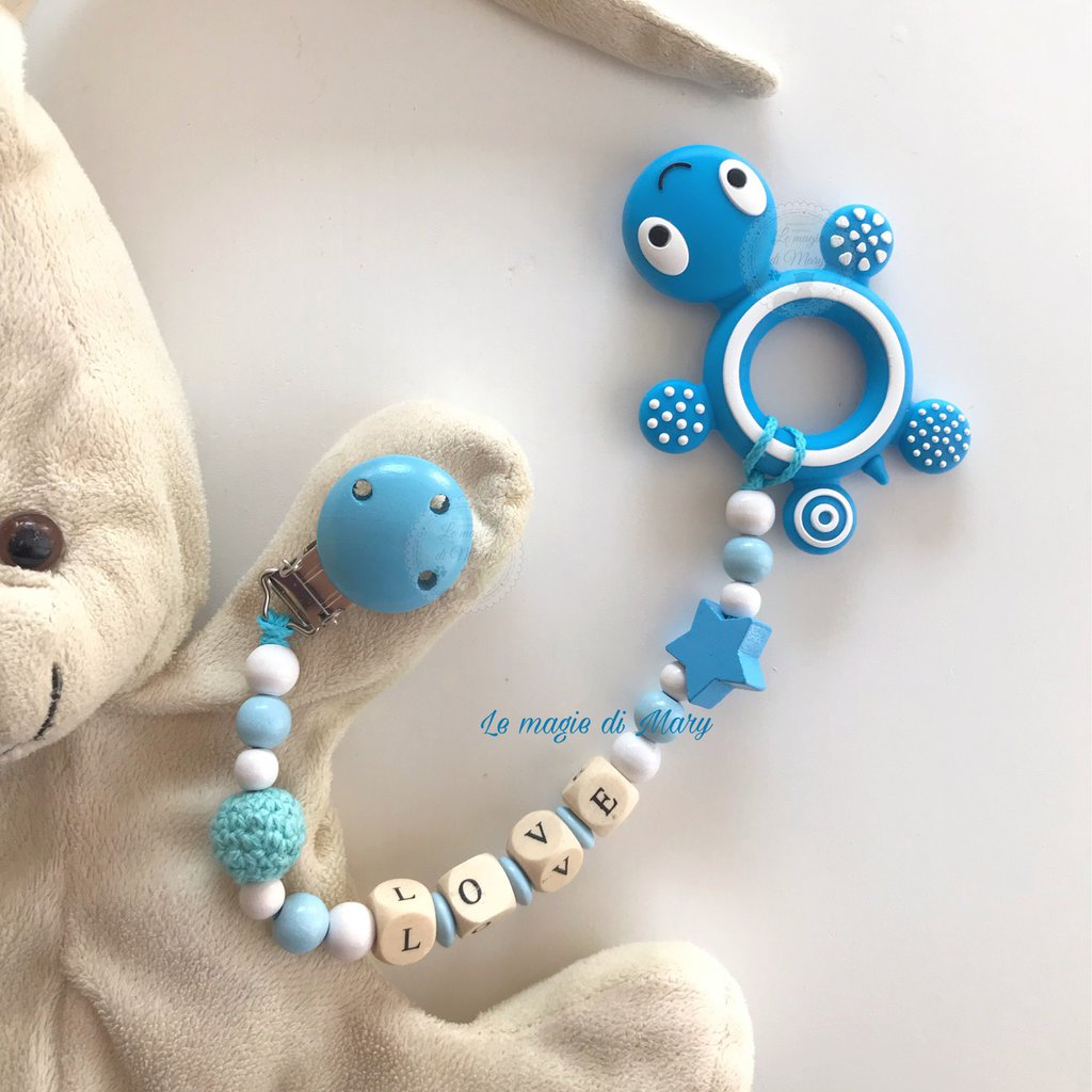 Catenella portaciuccio con tartaruga azzurra in silicone per massaggio gengive