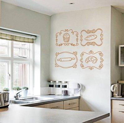 Set di 4 adesivi tema Bakery per cucina