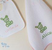 Set bebè asciugamano e bavaglino Bunny