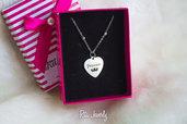 Collana Linea Love ♥️ in acciaio con cuore inciso con scritta princess e disegno con corona