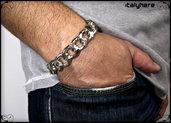 Bracciale uomo, grande catena sfaccettata argento, fantastica idea regalo