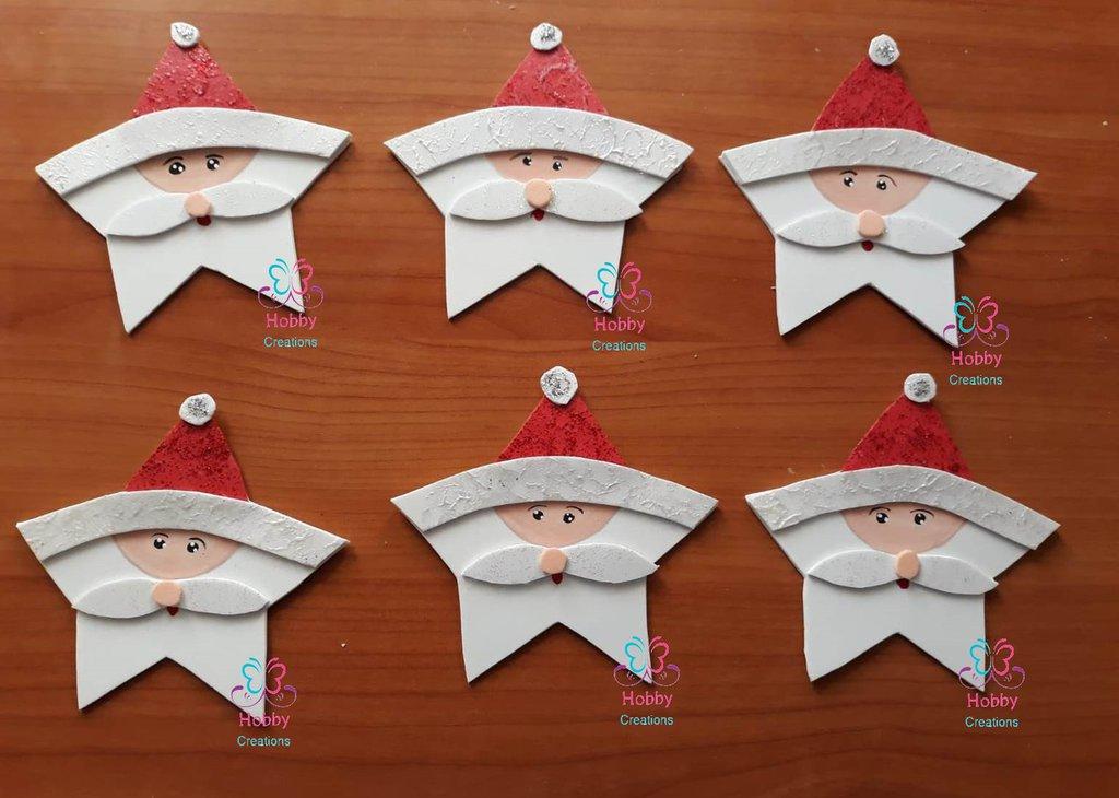 Addobbo natalizio artigianale in gomma crepla a forma di - Babbo natale modello artigianale ...