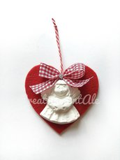 Natale - Cuore in feltro con gessetto