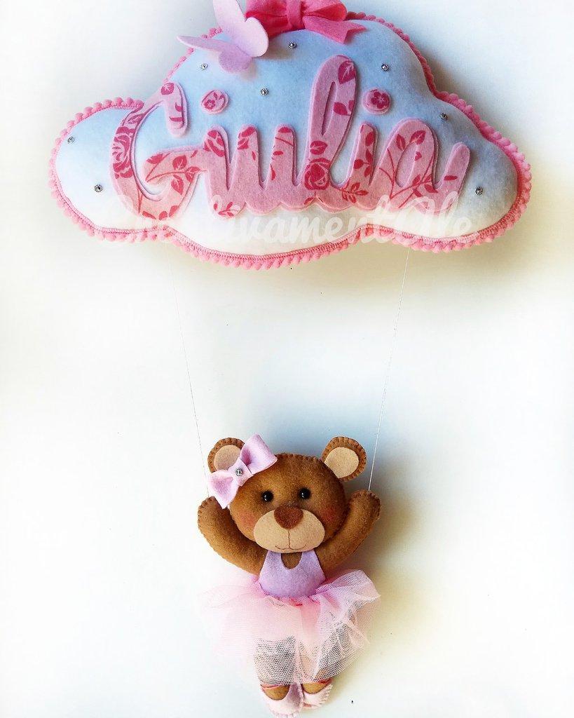 Fiocco nascita - Nuvoletta con orsetta ballerina