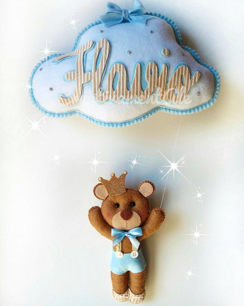 Fiocco nascita - Nuvoletta con principe orsetto