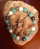 Bracciale donna pietre verde e bianco
