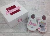 Scarpine ecopelle Gattino personalizzate con nome - 3/6 mesi Bimba Neonata - Confezione personalizzata