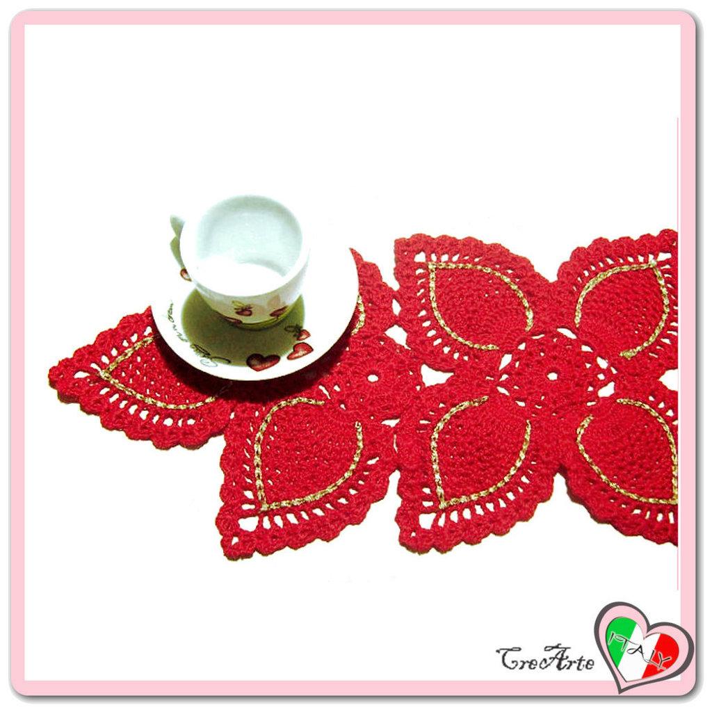Centrino Rettangolare Rosso E Oro Alluncinetto Per Natale Feste