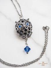 Collana con ciondolo gufo e perle Svarovski blu