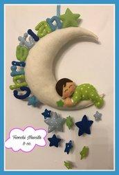 Fiocco nascita bambino sulla luna con stelline