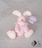 cake topper coniglietto con palloncino rosa per bimba