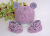 Set completino coordinato neonato cappellino+scarpine fatto a mano lana uncinetto