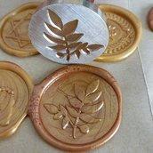 Sigillo in ottone per ceralacca disegno ramo di foglie