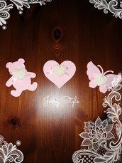 Segnaposto con gessetto e calamita a cuore farfalla orsetto biberon nascita battesimo matrimonio