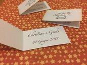 Bigliettini bomboniera matrimonio rettangolari cartoncino bianco e scritta bordeaux