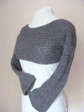 Coprispalle - bolero - poncho - scaldacuore - gilè lana grossa - cardigan tagliato
