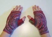 Copripolsi in lana - guanti senza dita - guanti multicolore - guanti in lana