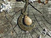 Collana con ciondolo in bronzo luna e goccia in resina, regalo di compleanno per amica