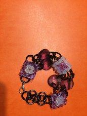 Bracciale quadrotti in  Swarovski lilla e bianco