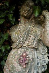 Collezione Come Pietre - Le LUNGHE collana rosa e perle bianche