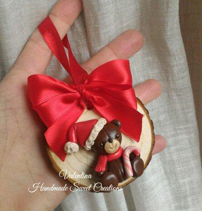 Orsetto natalizio addobbi Natale su disco di legno