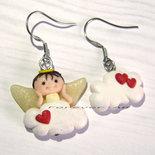 Orecchini angelo su nuvola e cuori kawaii fimo regalo ragazza donna angioletto