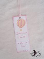 etichette segnaposto segnalibro battesimo mongolfiera rosa personalizzabile