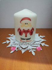 Candela con stampa babbo natale