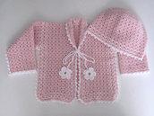 Completino coordinato neonata golfino + cappellino fatto a mano idea regalo nascita corredino lana rosa uncinetto