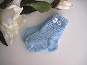 Calzini azzurre neonato fatti a mano idea regalo corredino nascita lana ferri