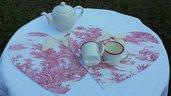 Tovagliette-colazione a cuore in misto lino Toile de Jouy